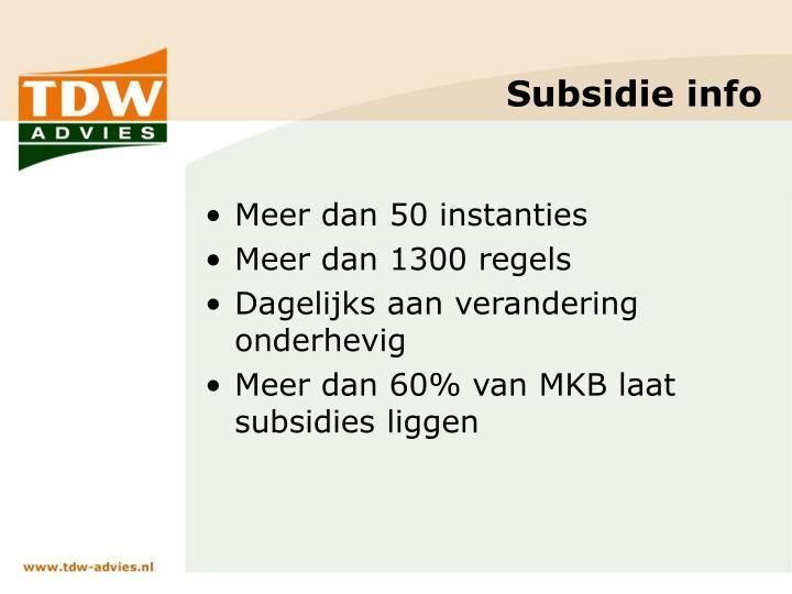 Subsidie info