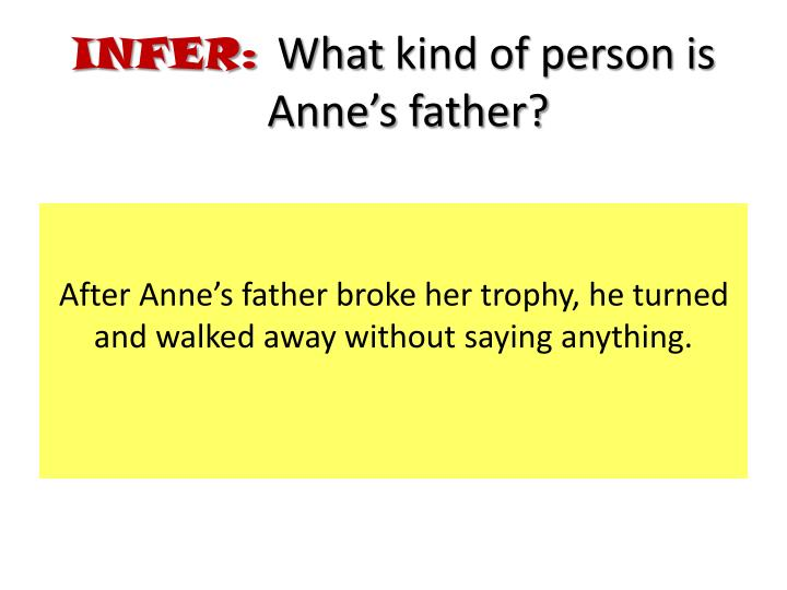 After Anne's father broke her trophy, he turned and walked away without saying anything.