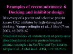 examples of recent advances 6 docking and inhibitor design