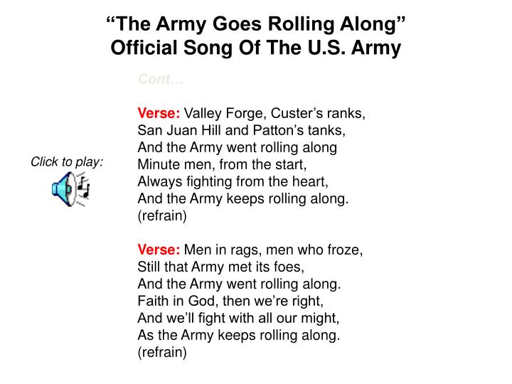 """""""The Army Goes Rolling Along"""""""