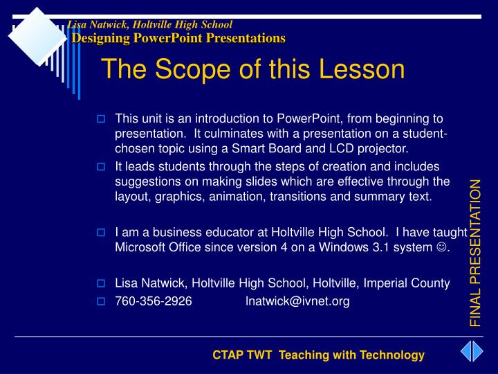The Scope of this Lesson