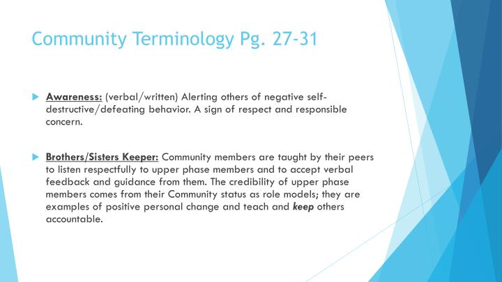 Community Terminology Pg. 27-31