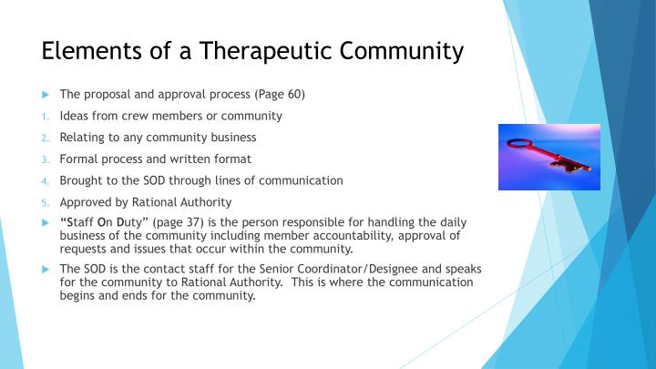 Elements of a Therapeutic Community