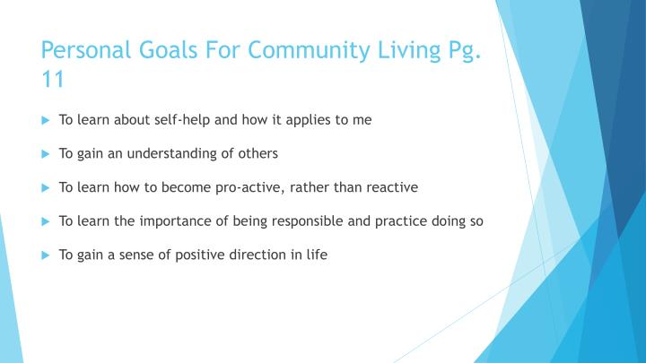 Personal Goals For Community Living Pg. 11