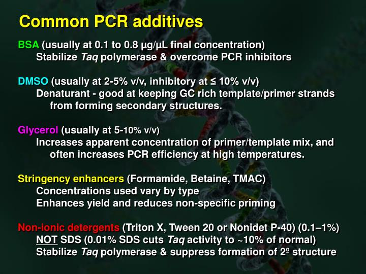Common PCR additives
