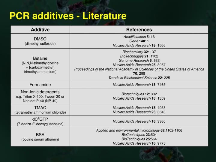 PCR additives - Literature
