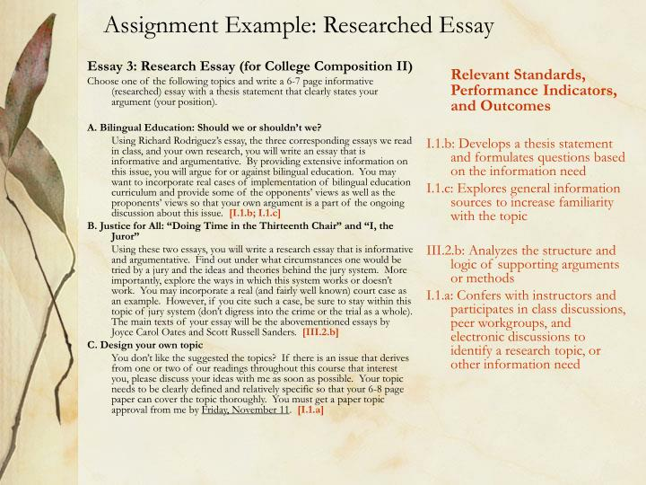 Essay 3: Research Essay (for College Composition II)