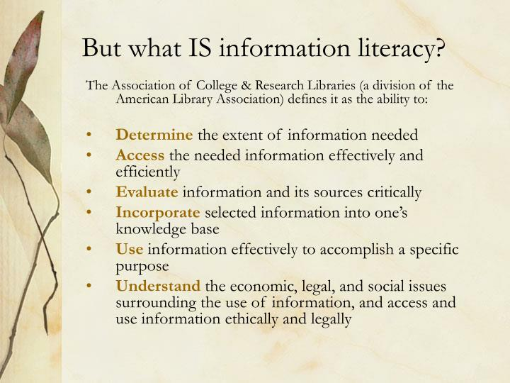 But what IS information literacy?