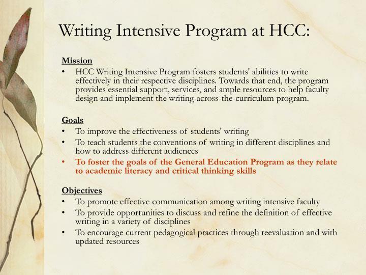 Writing Intensive Program at HCC: