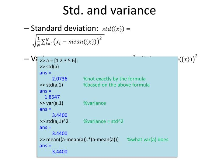 Std. and variance