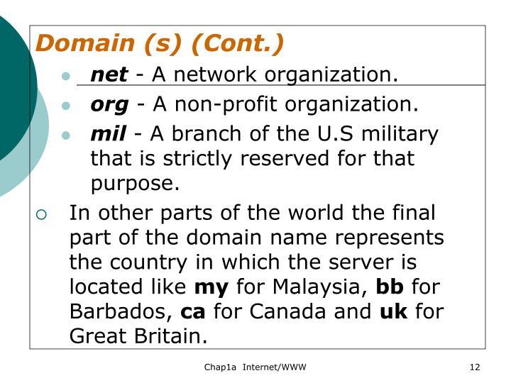Domain (s) (Cont.)