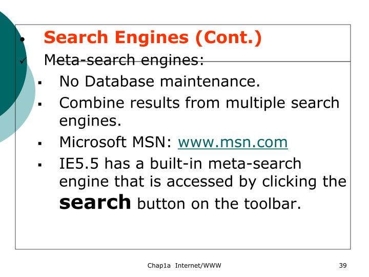 Search Engines (Cont.)