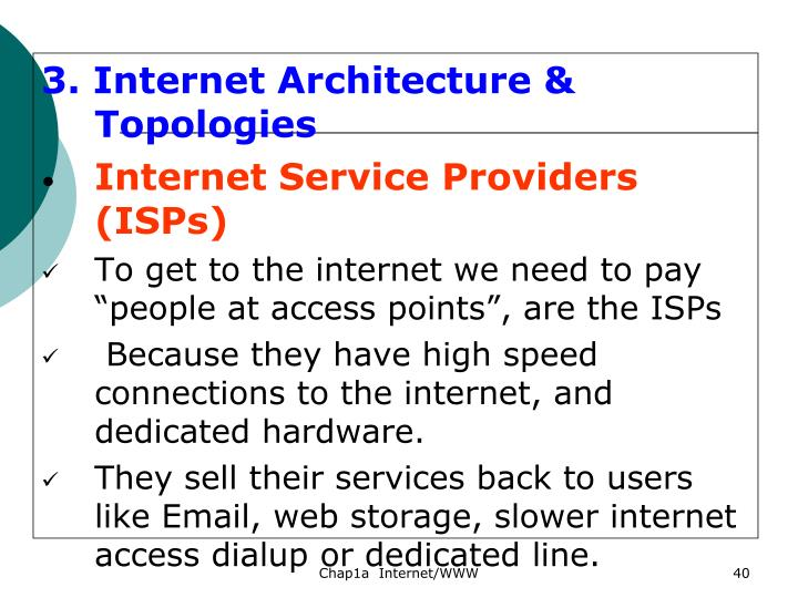 3. Internet Architecture & Topologies