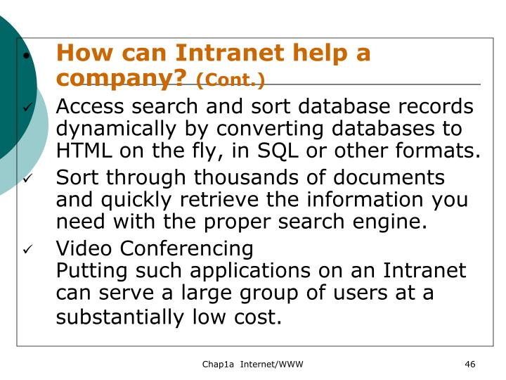 How can Intranet help a company?
