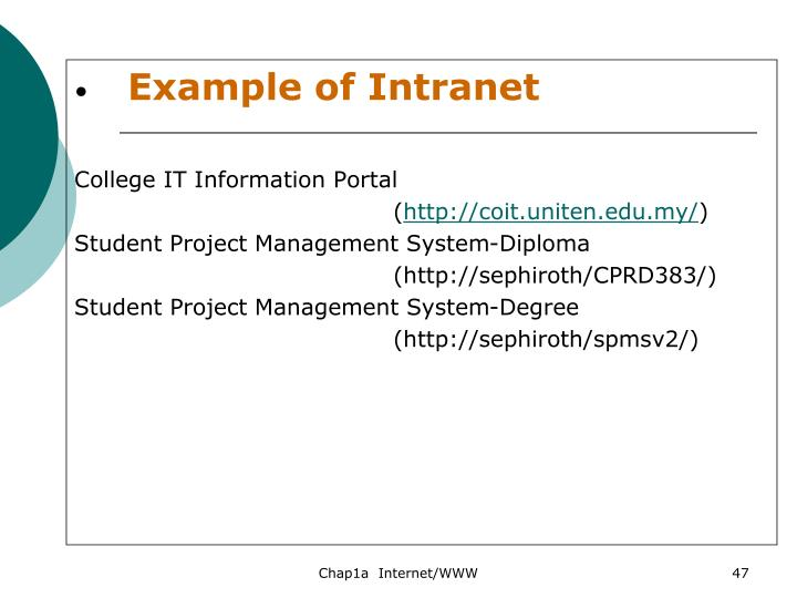 Example of Intranet