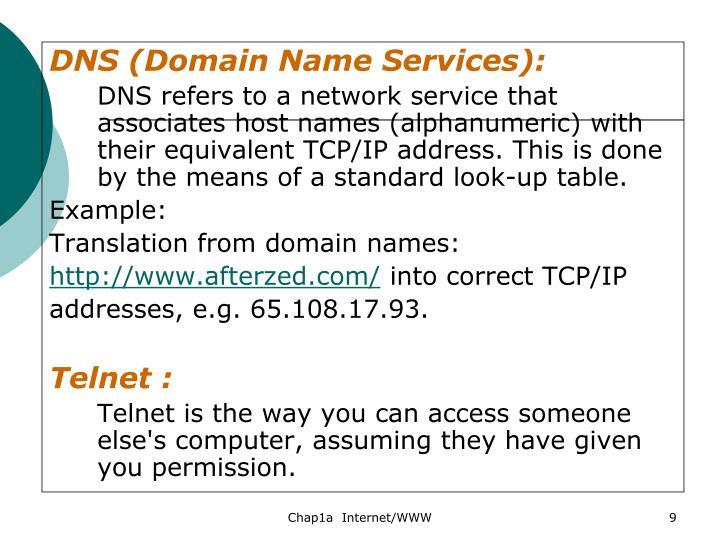 DNS (Domain Name Services):