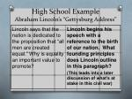 high school example abraham lincoln s gettysburg address
