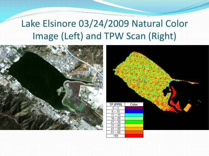 Lake Elsinore 03/24/2009 Natural Color Image (Left) and TPW Scan (