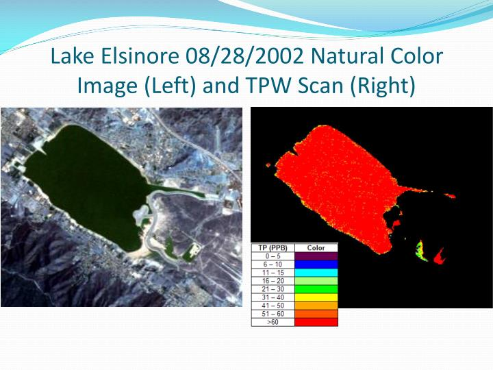Lake Elsinore 08/28/2002 Natural Color Image (Left) and TPW Scan (Right)
