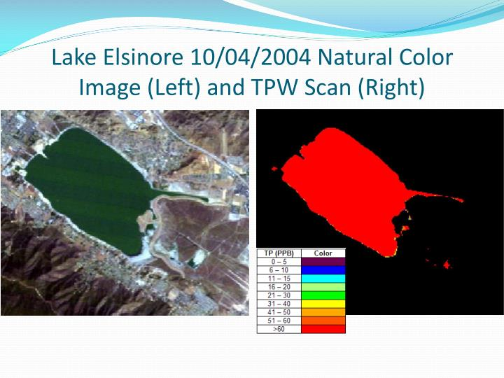 Lake Elsinore 10/04/2004 Natural Color Image (Left) and TPW Scan (Right)