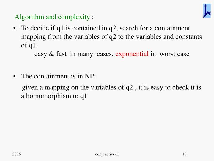 Algorithm and complexity