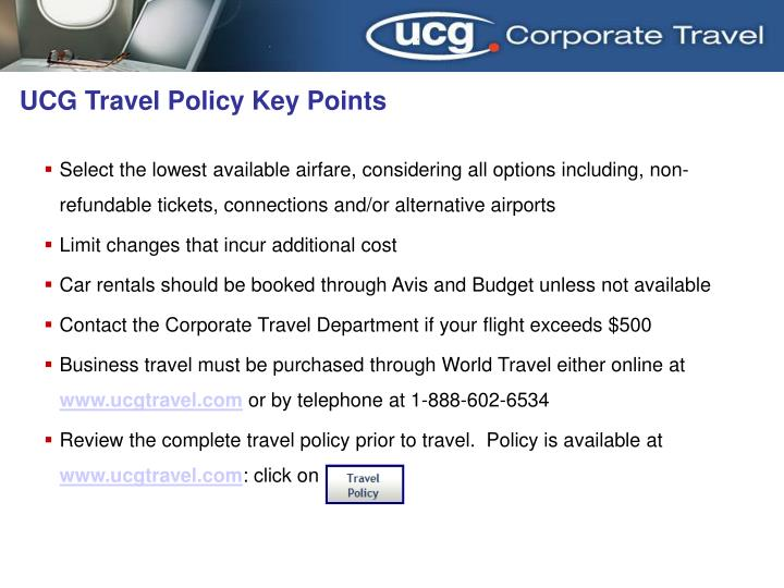 Ucg travel policy key points