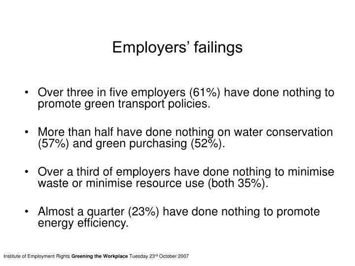 Employers' failings