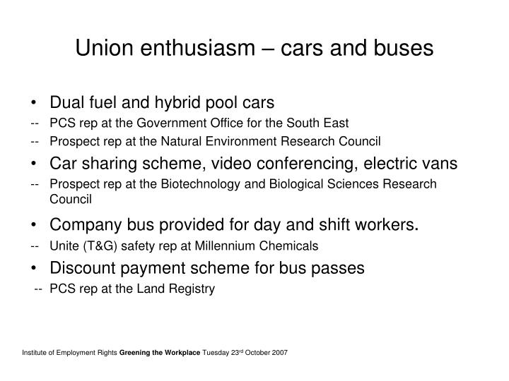 Union enthusiasm – cars and buses