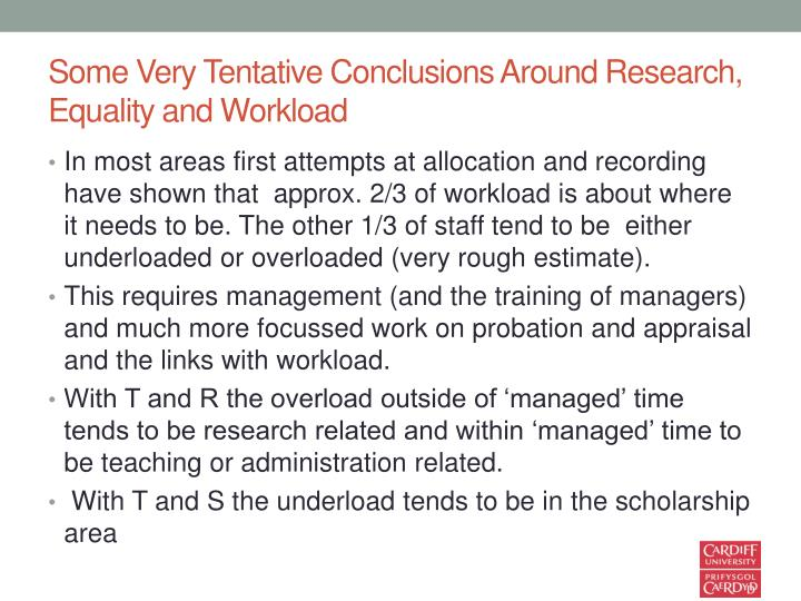 Some Very Tentative Conclusions Around Research, Equality and Workload