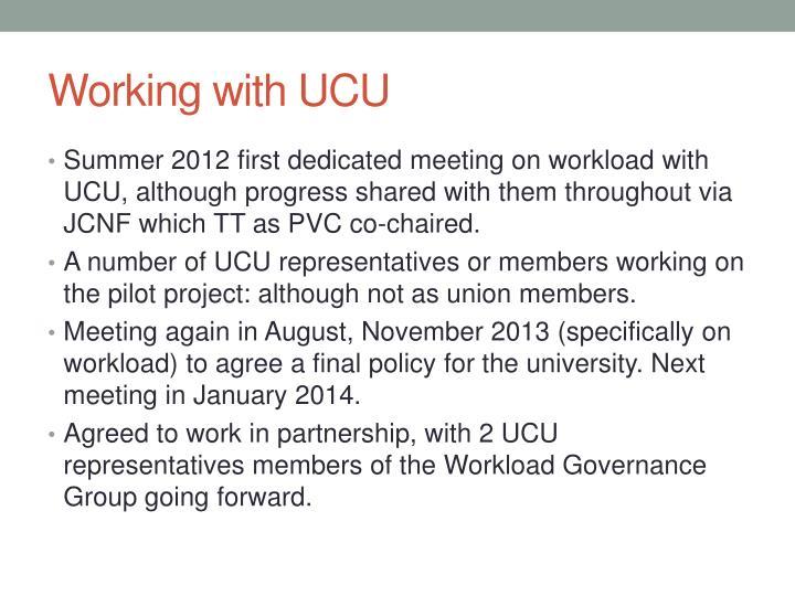 Working with UCU