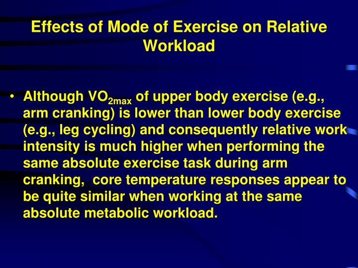 Effects of Mode of Exercise on Relative Workload