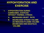 hypohydration and exercise