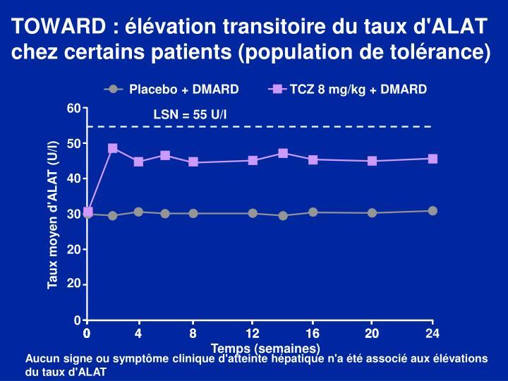 TOWARD : élévation transitoire du taux d'ALAT chez certains patients (population de tolérance)