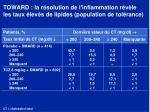 toward la r solution de l inflammation r v le les taux lev s de lipides population de tol rance