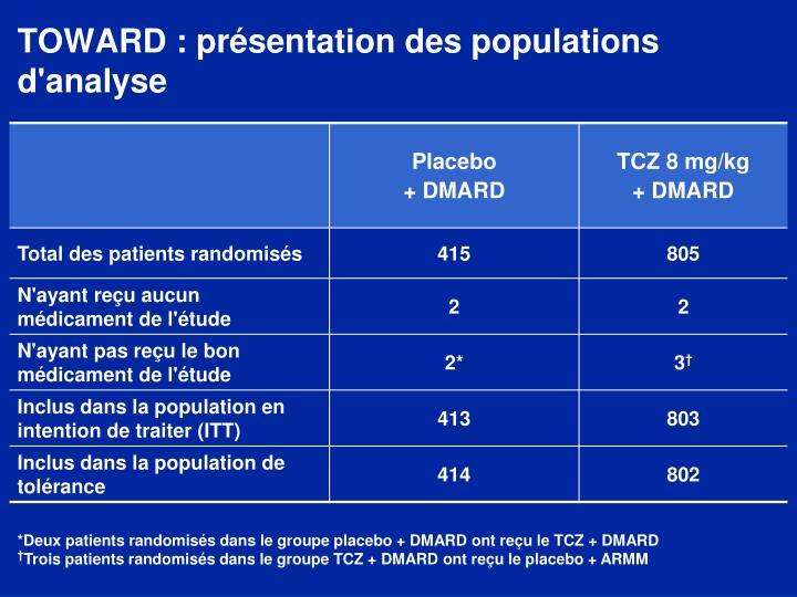 TOWARD : présentation des populations d'analyse