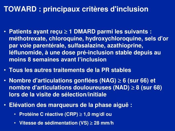 TOWARD : principaux critères d'inclusion