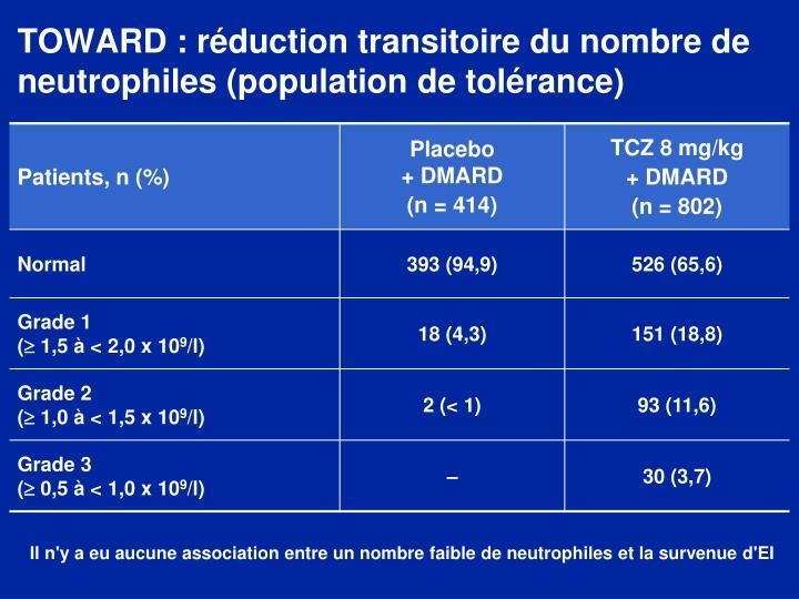 TOWARD : réduction transitoire du nombre de neutrophiles (population de tolérance)