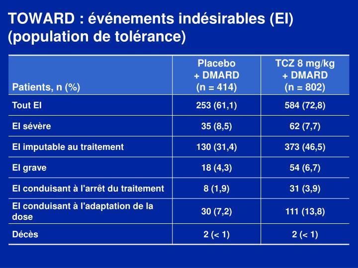 TOWARD : événements indésirables (EI) (population de tolérance)