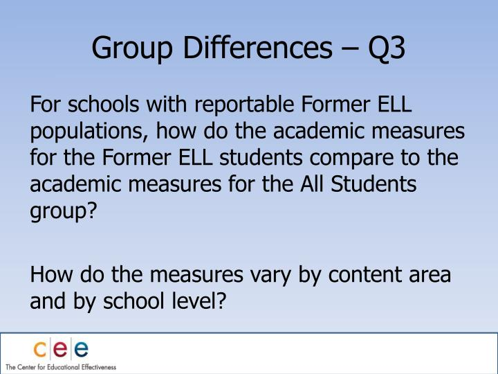 Group Differences – Q3