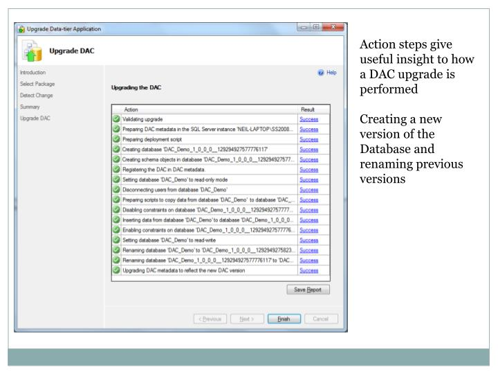 Action steps give useful insight to how a DAC upgrade is performed