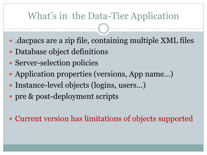 What's in  the Data-Tier Application