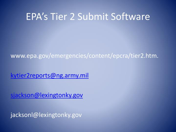 EPA's Tier 2 Submit Software