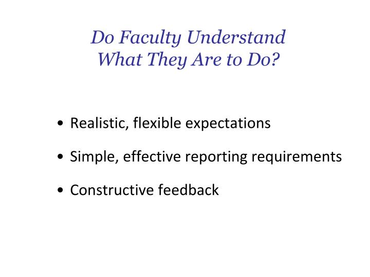 Do Faculty Understand What They Are to Do?
