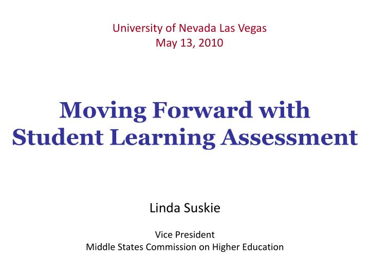 moving forward with student learning assessment