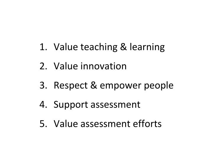 Value teaching & learning