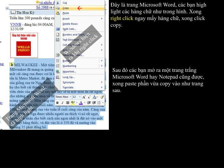 Đây là trang Microsoft Word, các bạn high light các hàng chữ như trong hình. Xong