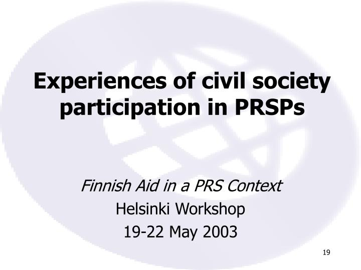 Experiences of civil society participation in PRSPs