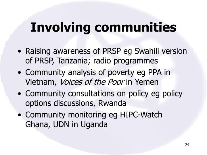 Involving communities