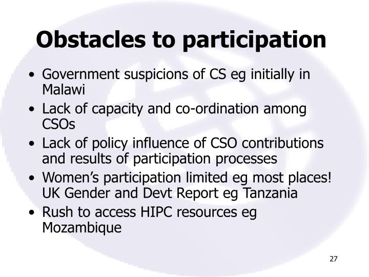 Obstacles to participation