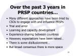 over the past 3 years in prsp countries